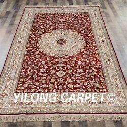 YILONG 6'x9' Persian Handmade Silk Red Carpet Bedroom Home Decor Rug Y316B