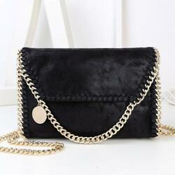 Women Chain Strap Solid Cross Body Shoulder Bag Clutch Evening Party