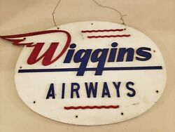 Vintage 1950and039s Wiggins Airways Airplane Airport Lucite Advertising Sign Rare