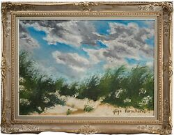 Stunning Impressionist Oil Painting Of Sand Dunes And Sky Heavy Impasto Signed
