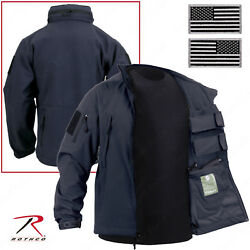 Midnight Navy Blue Concealed Carry Soft Shell Tactical Jacket With Flag Patches