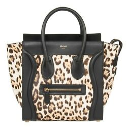 Celine Micro Luggage Tote Bag  Leopard and Black Print