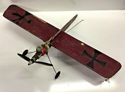 VTG 1960s Sterling Model Airplane FOK E III ? For Parts Repair Restore Patina