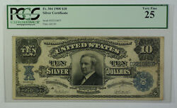1908 10 Dollar Silver Certificate Currency Note Fr. 304 Pcgs Vf-25