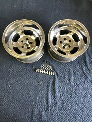 VINTAGE PAIR 15X10 POLISHED  US INDY STYLE MAGS  5 ON 4 12 FORD MOPAR DODGE