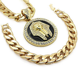 Mens 14k Gold Plated Xl Black Pharaoh Pendant With 30 Cuban Chain And Bracelet