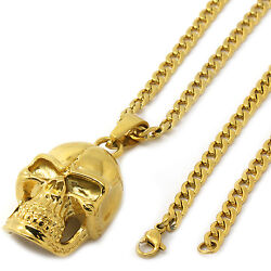 Men's 14k Gold Tone Stainless Steel Skull Pendant 4mm 24 Cuban Necklace Chain
