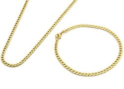 14k Gold Plated Stainless Steel 4mm 24 Hip Hop Chain And Bracelet Mens Cuban