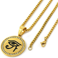 Men Gold Tone Stainless Steel Eye Of Horus Pendant 3mm 24 Box Chain Necklace