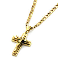 14k Gold Plated Stainless Steel Mini God Cross Pendant 24 Cuban Necklace Chain
