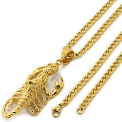 Stainless Steel Gold Plated Scorpion Skull Pendant 4mm 24 Cuban Necklace Chain