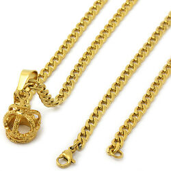 Men's 14k Gold Tone Stainless Steel Crown Pendant 4mm 24 Cuban Necklace Chain