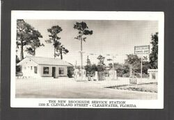 Postcard Brookside Service Station - Travel Gas Pumps - Clearwater, Fl - 1950s