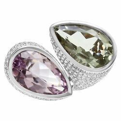 Bold Amethyst and diamond ring. 4.70cts in pave diamonds set in 18k White gold.
