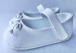 Baby Deer White Skimmer Shoe with Bow  Size 0 1 2 3