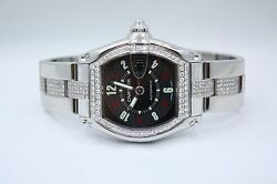 CARTIER ROADSTER VEGAS DIAL STAINLESS STEEL DIAMOND ENCRUSTED WATCH W62002V3