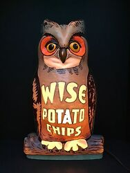 Rare Wise Potato Chips LIGHTED OWL DISPLAY 1960's  Nat Vacuum Molding Corp