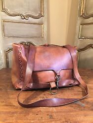 VINTAGE LEATHER CROSSBODY MESSENGER WEEKENDER RUCKSACK MAIL BAG BRASS RIVETS