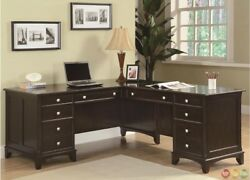 Garson L Shaped Corner Office Desk w Return & Lateral File in Dark wood Finish