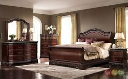 Bella Traditional King Sleigh 6pc Bedroom Set w Chest and Mahogany Wood Finish