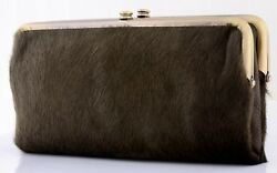NWT HOBO INTERNATIONAL $178 LAUREN LEATHER & CALF HAIR FRAME CLUTCH WALLET OLIVE