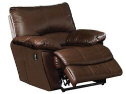 Belleview Classic Brown Top Grain Genuine Leather Reclining Chair W/power Option