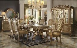 5 Pc Dresden 108 Double Pedestal Dining Room Table And 4 Chairs Gold Carved Wood