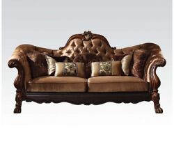 Dresden Victorian Tufted Sofa Gold Velvet And Cherry Finished Carved Wood Brown