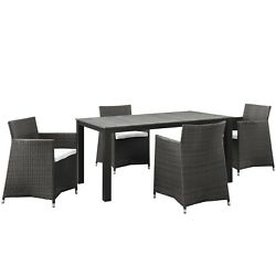 New Junction Contemporary 5 Piece Outdoor Patio Wicker Dining Set Brown White