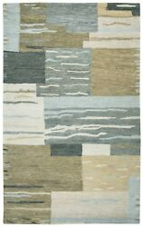 Leone Soft Wool Area Rug 10 X 14and039 Neutral Grey Brown Tan Black Ivory White Block