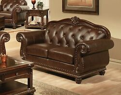 Sunderland Antique Style Top-grain Tufted Genuine Leather Loveseat Brown Finish