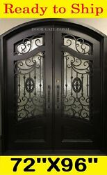 AMAZING IRON FRONT ENTRY DOORS WITH TEMPERED GLASS 72''X96'' DGD1080ABP