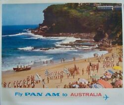 Pan Am Airlines Australia Vintage 1965 Travel Poster 34.5x44 Very Rare Linen Nm