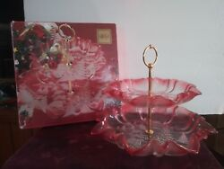 Christmas Story By Mikasa Glass Tidbit Tray Or Server 2 Tier Pink Clear Frosted