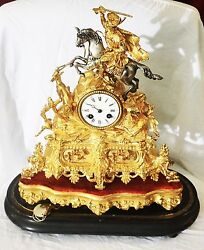 Large Gold-plated Centerpiece Clock On Wooden Velvet Base - As Is