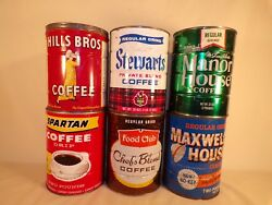 Vintage Hills Brothers Spartan Stewarts Tin Coffee Can Lot Kitchen Decor 6 Cans