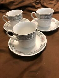 Set Of 3 Lynns Grace Demitasse Cups And Saucers Fine China Pink Rose Platinum