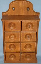 Vintage Wood Spice Wall Hung Table Counter Top Spice Cabinet 8 Drawer Early 1900
