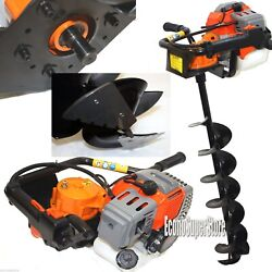 Ice Auger Drill Hole Post Digger 52cc Gas Power W/8 Ice Bits Bit