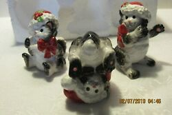 Fitz And Floyd Christmas Figurines Santa Kitty Tumblers 3 Cats New