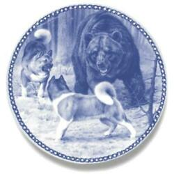 The Big Fight- Akita - Limited Edition Dog Plate Made In Denmark
