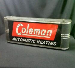 RARE Coleman Automatic Heating lighted sign Neon Products Inc Art Deco lantern