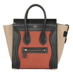 Celine Micro Luggage Leather Bag in Tri-Color Black Tan