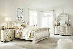 NEW SYMPHONY 5 piece Old World Pearl Silver Finish Queen King Sleigh Bedroom Set