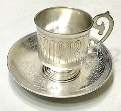 Antique Vintage 1894 Russian Imperial Silver 84 Beaker Vodka Cup Goblet W/tray
