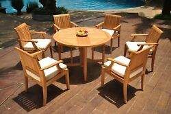 A-grade Teak 7pc Dining 48 Round Butterfly Table 6 Lagos Arm Chair Set Outdoor