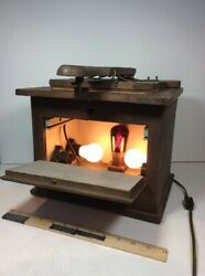 Antique Wood FILM CONTACT PRINTER BOX FRAME PHOTOGRAPHY DEVELOPMENT LIGHT LAMP