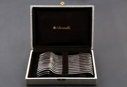 French Silverplate Christofle Spatours Pattern Set Of 12 Pastry - Cake Forks