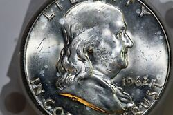 10 Face Roll Of Mint State 1962-d Franklin Half Dollars Stock Num3225