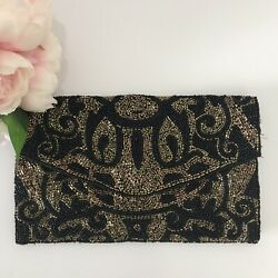 Forever New Black and Gold Beaded Evening Bag Versatile Clutch or Strap